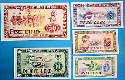 Albania Paper Money 1976 1,3,5,10,50 Leke UNC Uncirculated Banknote