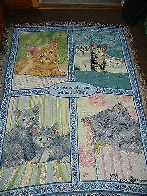 Danbury Mint.greg Cuddiford.kitty.cat.feline.woven Afghan.throw.tapestry