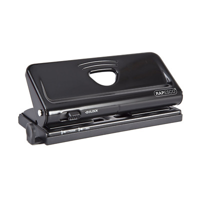 Rapesco Adjustable, 6 Hole Punch Paper Punches, Black (1342)