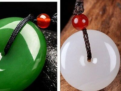 2pcs Chinese beautiful natural White Green jade hand-carved Lucky Buckle pendant