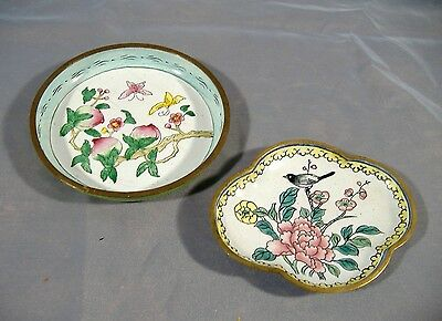 Antique Vintage Chinese Export Enamel Copper Dish Lot of 2 Small Hand Painted