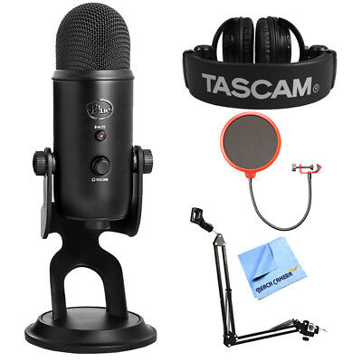 BLUE MICROPHONES Yeti Professional USB Desk Microphone + Tascam Headphone Bundle