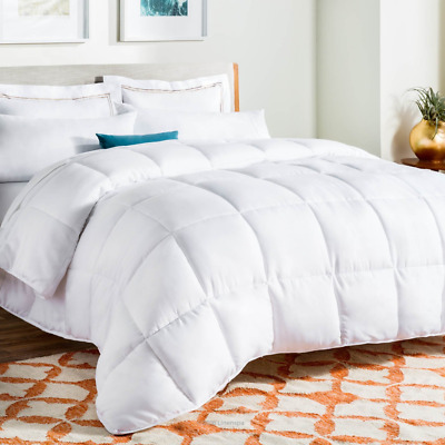 LinenSpa White Goose Down Alternative Quilted Comforter with Corner Duvet Tabs,