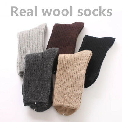 5 Pairs Mens 95%Wool Cashmere Crew Socks Dress Solid Warm Thick Thermal Casual