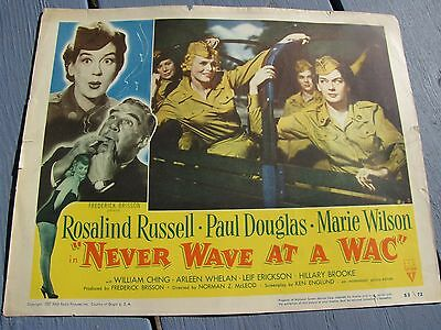 Never Wave At A Wac Rosalind Russell Paul Douglas Army Corps War Film Lobby Card