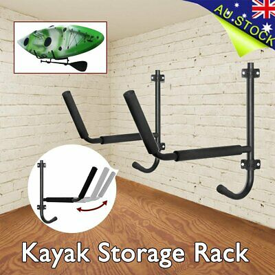 2Pcs Steel Kayak Storage Rack Carrier Canoe Paddle Surfboard Holder Wall Bracket