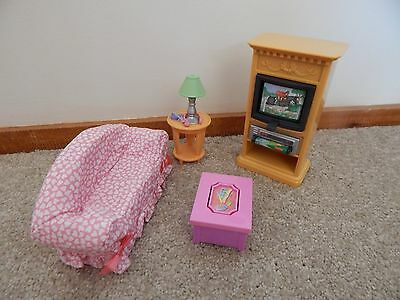 Fisher Price Loving Family Dollhouse Furniture Lounge Room TV