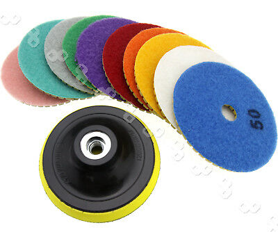 Diamond Polishing Pads 4 inch Wet/Dry 11 Piece Set Granite Stone Concrete Marble