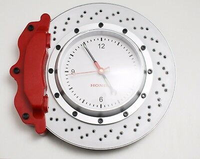 Genuine Honda 33cm 13in Vented Brake Rotor Red Caliper Analog Wall Clock