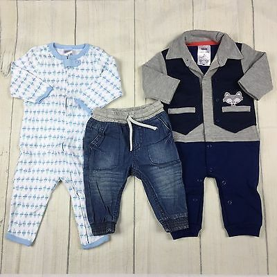 Baby Boys Jeans & 2 x Footless Jumpsuits 3-6months Size 00 Mixed Lot Never Worn