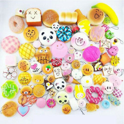 10pcs Squishy Charms Kawaii Soft Foods Squishies Cake Phone Straps Charm Toy New