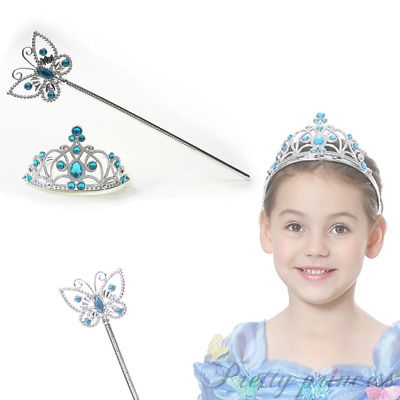 For Forzen Elsa Girls Birthday Party Princess Crown Tiara Butterfly Wand Set UK