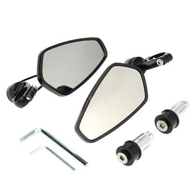 "Pair Motorcycle 7/8"" Handle Bar End Rearview Mirrors Side Mirrors Universal UK"