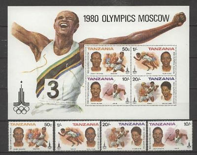 Olympiade 1980, Olympic Games - Tansania - 157-160, Bl.23 ** MNH