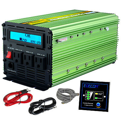 EDECOA Car Power Inverter 2000W 4000W 24V dc to120V ac with LCD Cables Remote RV
