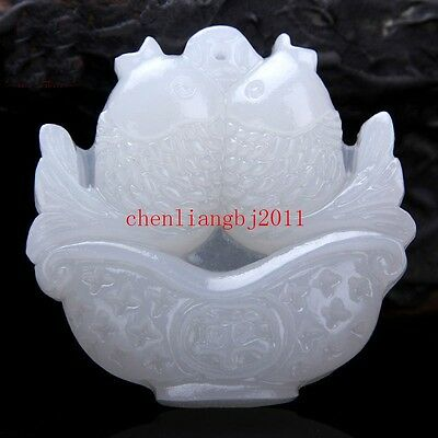 Beautiful Exquisite Chinese White Natural Jade Pendant  Amulet fish