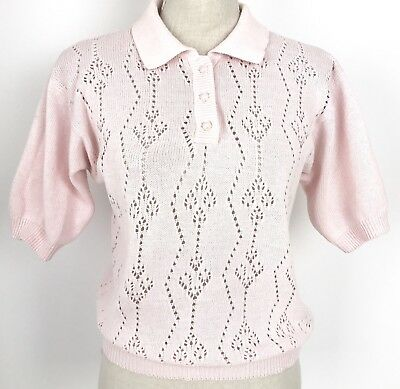 Vintage Pastel Pink White Pearl Button 100% Cotton Knit Top S