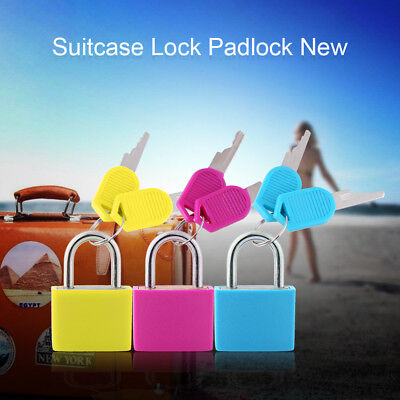 3x High Security Mini Lock Travel Luggage Suitcase Cabinet Padlock w/ 2 Keys coi