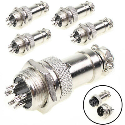 5 Pairs Aviation Plug 5 Pins Male Female Panel Metal Wire Connector 5A GX16-4 US