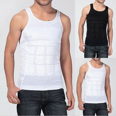 Mens Slimming Vest Sauna Body Shaper Firm Control Tummy Waist Shapewear Shirt CR