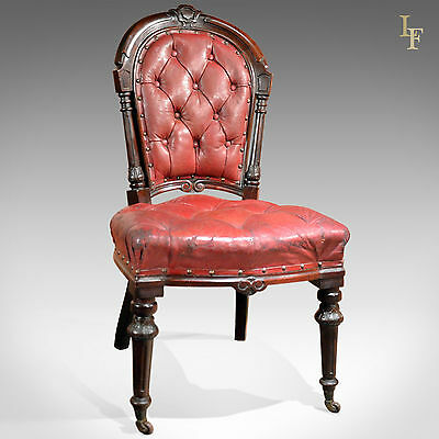 Antique Chair English Late Regency Mahogany Red Leather Library Desk Hall Chair