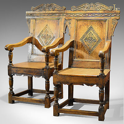 Antique Pair of Baronial Carver Chairs, C19th English Oak, Hall Armchairs