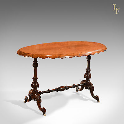 Antique Side Table, Victorian Stretcher Centre, Sofa, English Burr Walnut c.1860
