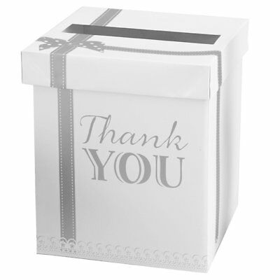 Chic Boutique Wedding Card Thank You Post Box White & Silver
