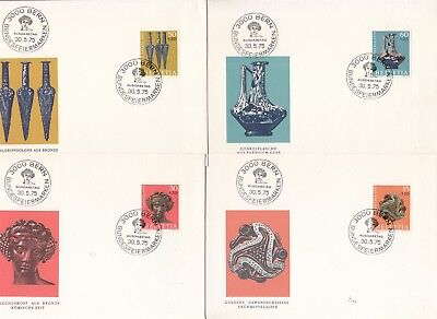 Archeology Switzerland 4 FDCs 1975