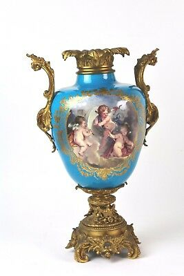 * Jarron In French Porcelain Of Sevres. Hand Painted. Decoration In Bronze. Xix