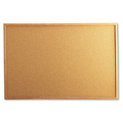 Universal Cork Board with Oak Style Frame, 36 x 24, Natural - UNV43603