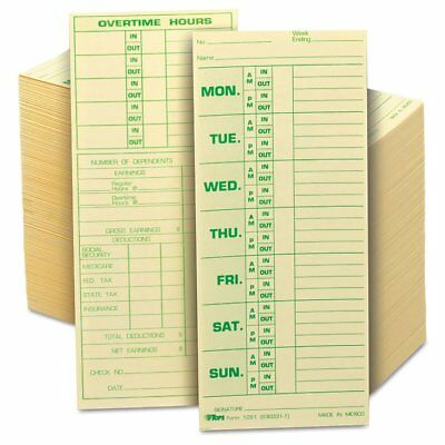 TOPS Time Card for Pyramid Model 331-10, Weekly, Two-Sided, 3 1/2 x 8 1/2, 5 ...
