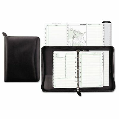 Day Timers Day-Timer Recycled Bonded Leather Starter Set, 5 1/2 x 8 1/2, Bla ...