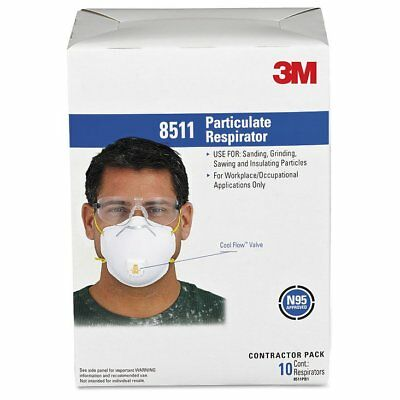 3M Particulate Respirator w/Cool Flow Exhalation Valve, 10 Masks/Box -MMM8511