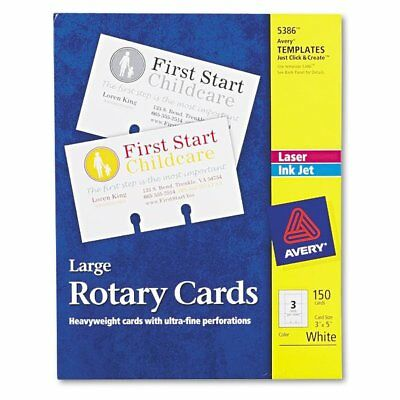 Avery Large Rotary Cards, Laser/Inkjet, 3 x 5, 3 Cards/Sheet, 150 Cards/Box  ...