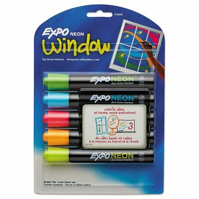 EXPO Neon Dry Erase Marker, Assorted, 5/Set - SAN1752226