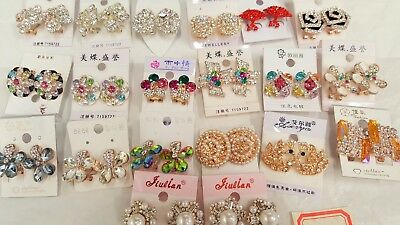 Joblot of 20 pairs Mixed color  Diamante stud Earrings - NEW Wholesale Lot C