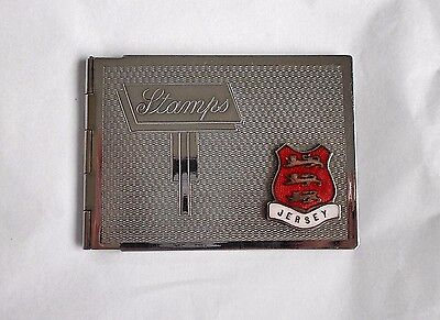 Chrome plated Stamp Case with JERSEY   Enamel  Plaque - Gold ( tone)  interior