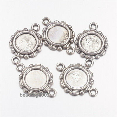 20pcs Flat Round Tibetan Style Cabochon Connector Settings  Antique Silver 10mm