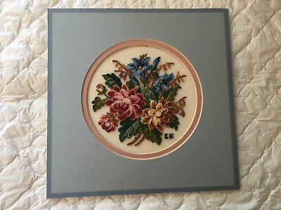 Floral Bouquet Petit Point - Matted - ready for framing (867)