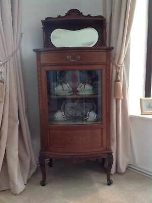 Edwardian Mahogany Bow-fronted Inlaid Display Cabinet By Maple & Co