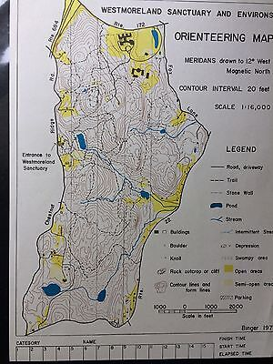Vintage Westmorland Sanctuary and Environs Orienteering Map Binger 1975 New York