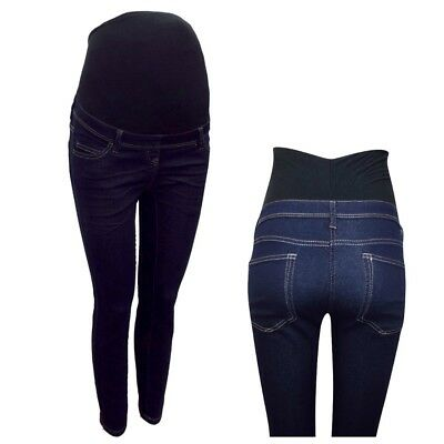 Maternity Next Over The Bump Jeggings Jeans Blue Navy Size 6 - 20 Leg 25 - 32
