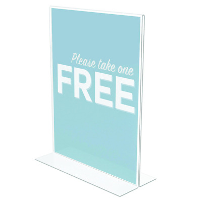 Deflect-O Classic Image Stand-Up Double-Sided Plastic Sign Holder, 8-1/2W X 11H,