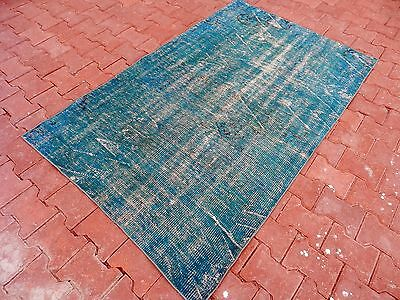 "Turquoise Colors Overdyed Rug 3'9"" x 6'2"" Handmade Turkish Rug Boho Overdyed Rug"