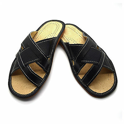 Mens Gents Black Leather Slippers Slip On Shoes Sandals Size 6 7 8 9 10 11 12 UK