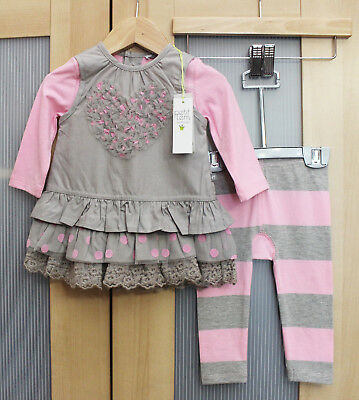 NWT Petit Lem Baby Girl Tulle Tunic and Legging Set, Gray/Pink~ Size 6M 9M 24M
