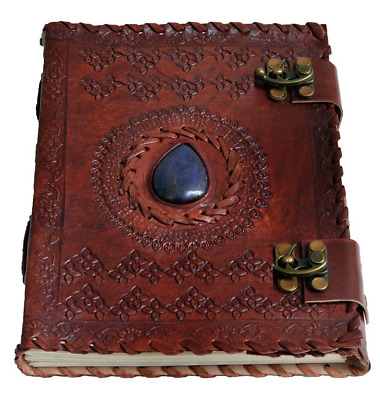 """Handmade Large 8"""" Embossed Leather Journal Celtic two latches blue stone blank p"""