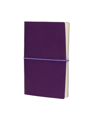 Paperthinks Plum Memo Pocket Ruled Recycled Leather Notebook, 3.5 x 6-inches