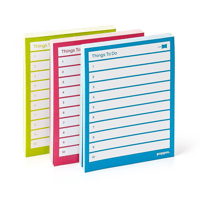 Poppin Task Pads, Set of 3, Assorted